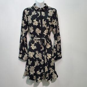 Long sleeve Shirt Dress Navy /Cream floral Size XL